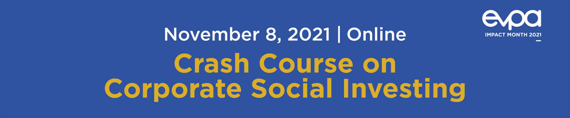 EVPA Crash Course on Corporate Social Investing